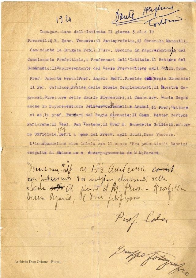 Verbale inauguraz. fabbricato Dante - 1920